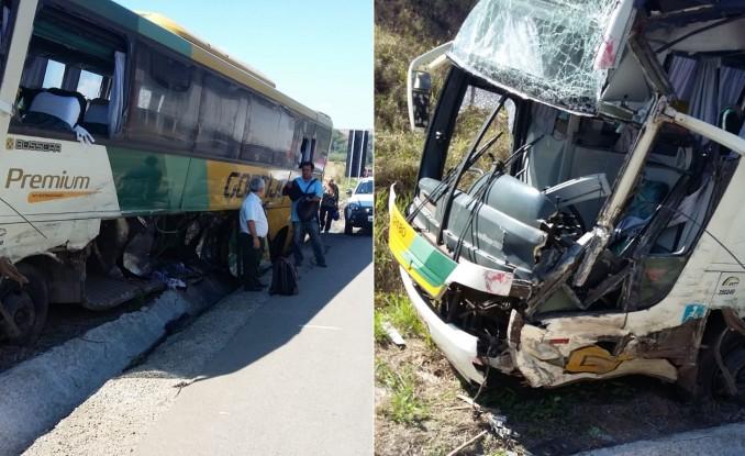Quatro pessoas ficaram feridas em acidente entre ônibus e carreta na BR-381 próximo a Naque 1